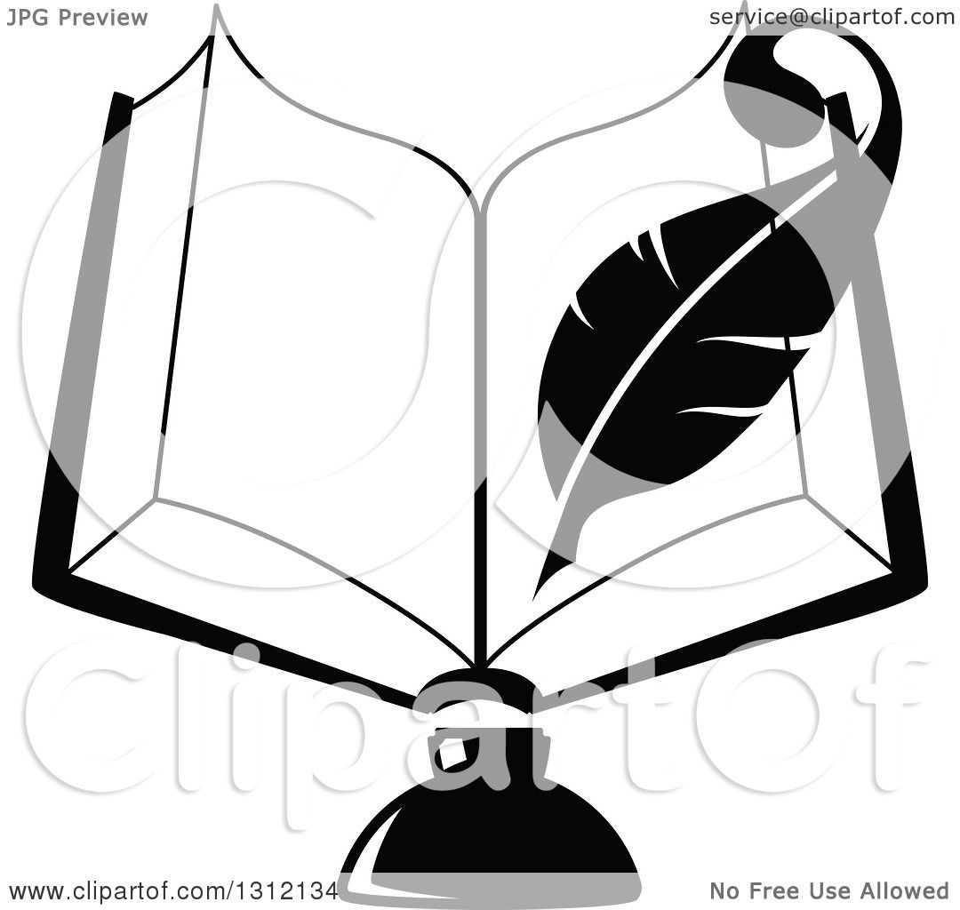 Clipart of a Black and White Feather