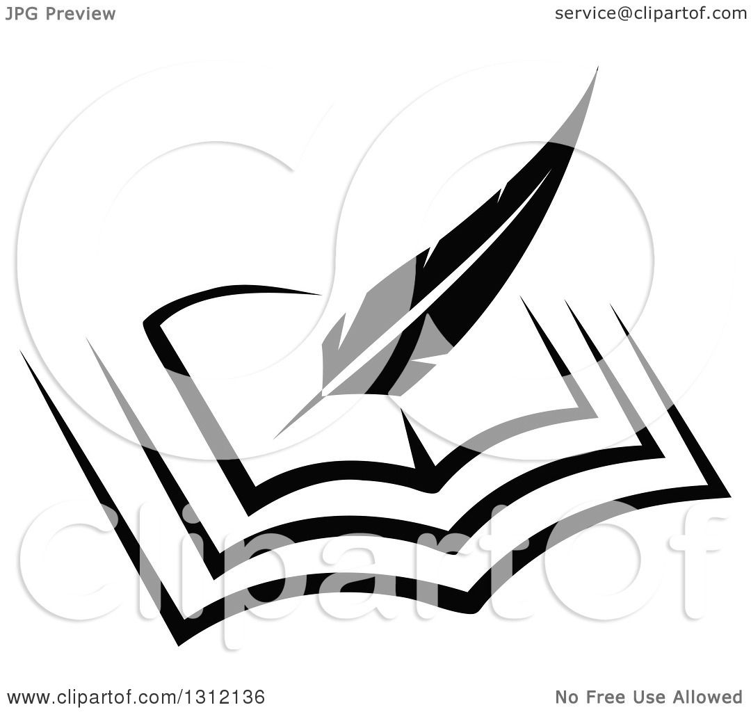 Clipart of a Black and White Feather Quill Pen Writing in ...