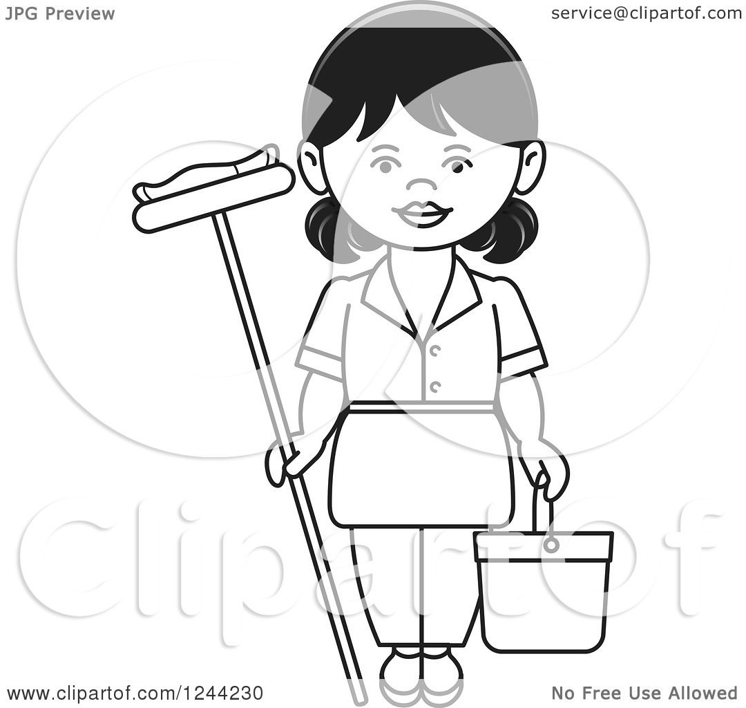 clipart of a black and white female maid with a mop and