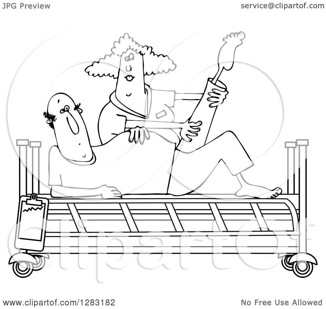 Clipart of a Black and White Female Nurse Helping a Male ...