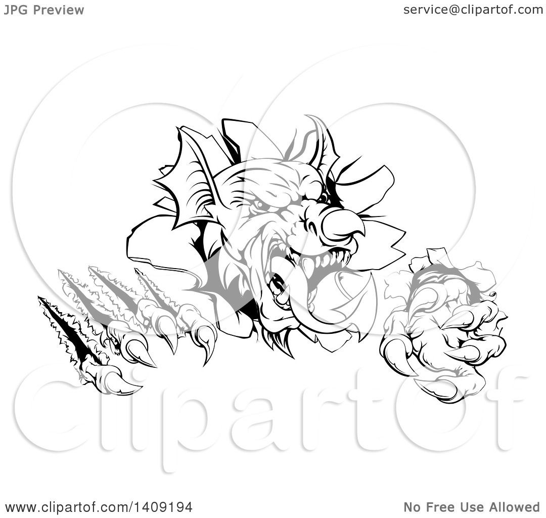 Clipart of a Black and White Fierce Welsh Dragon Mascot Head ...