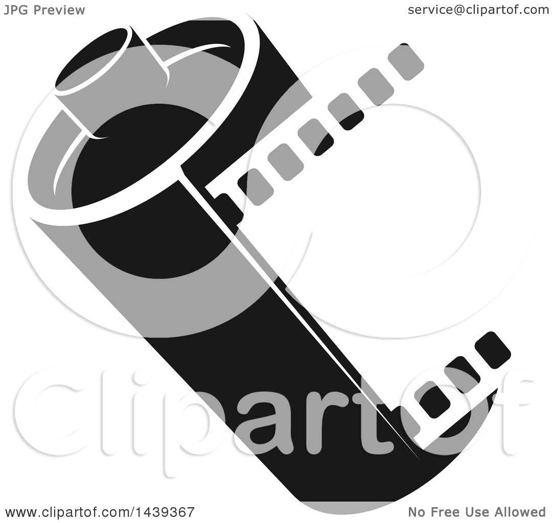Clipart of a Black and White Film Roll - Royalty Free ...