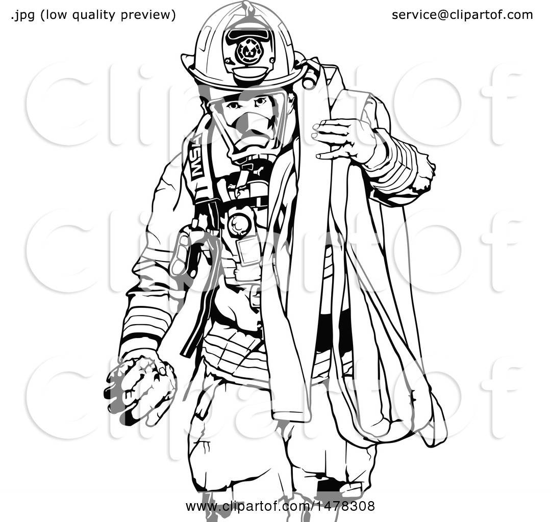 clipart of a black and white fireman carrying a hose - royalty free