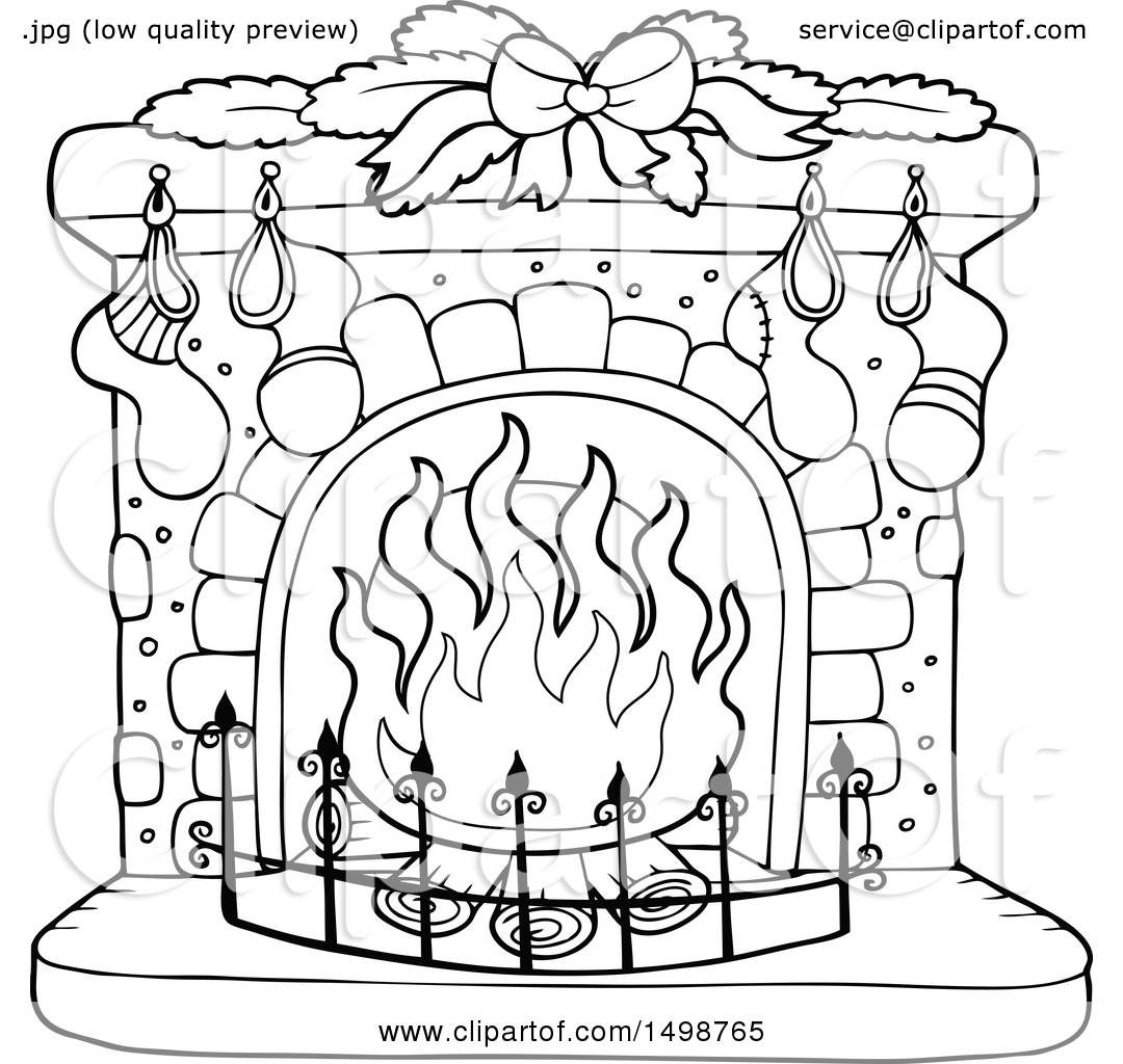 clipart of a black and white fireplace with christmas stockings