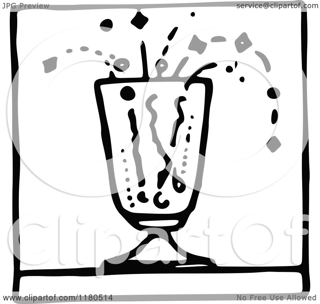 Clipart of a Black and White Fizzy Drink Icon - Royalty ...