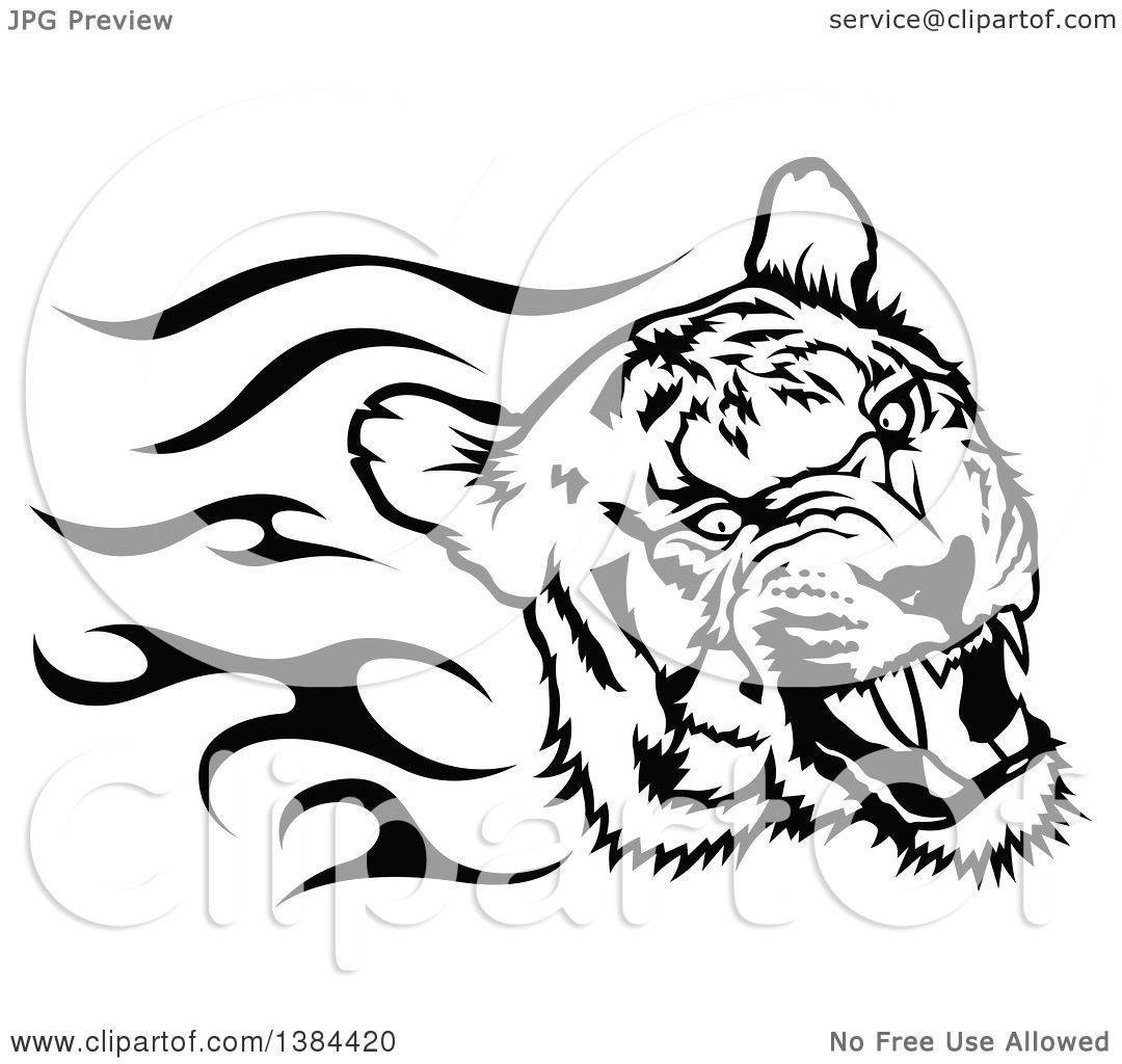 Clipart of a Black and White Flaming Tribal Tiger ...