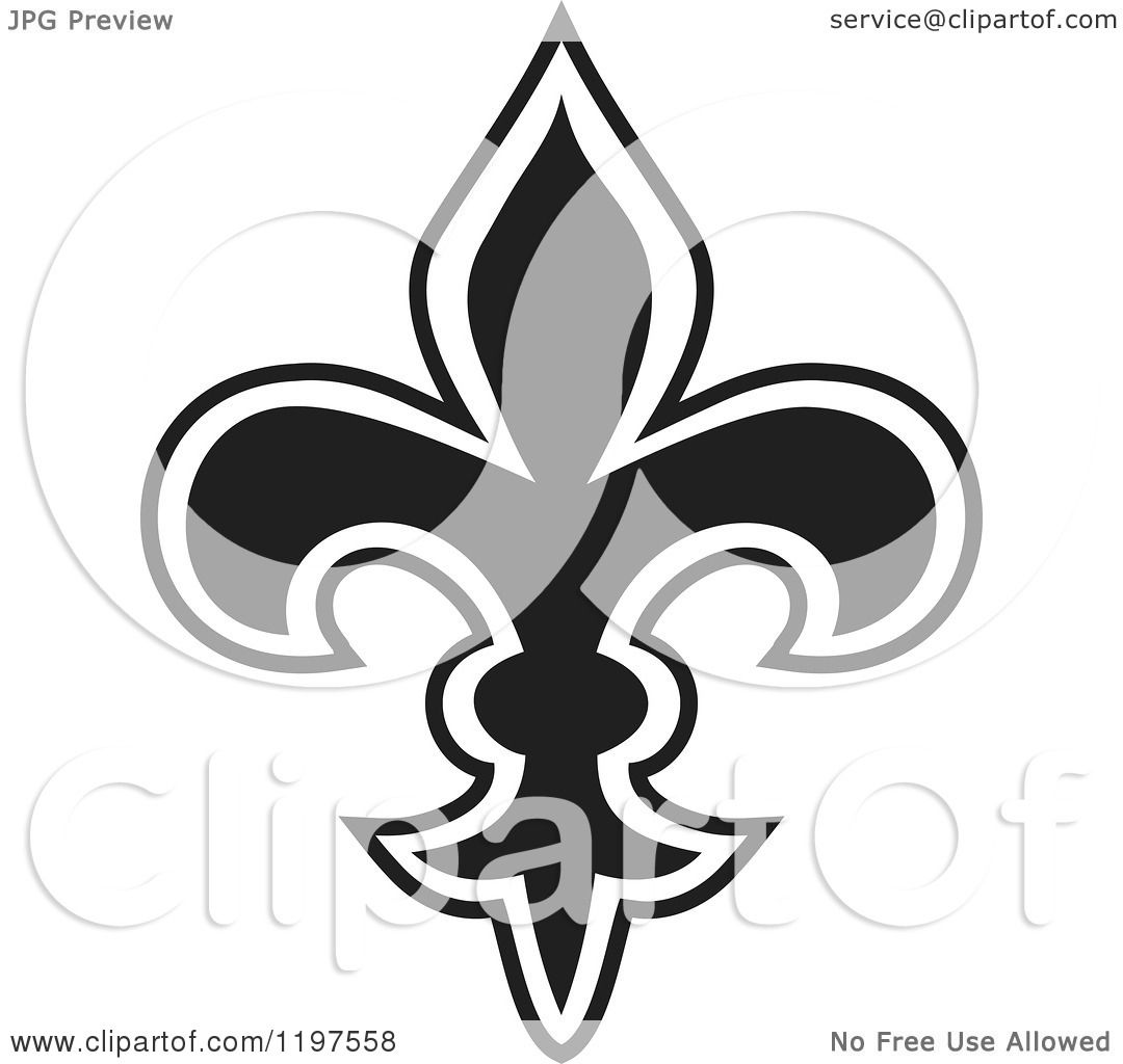 Clipart of a Black and White Fleur De Lis - Royalty Free Vector ...
