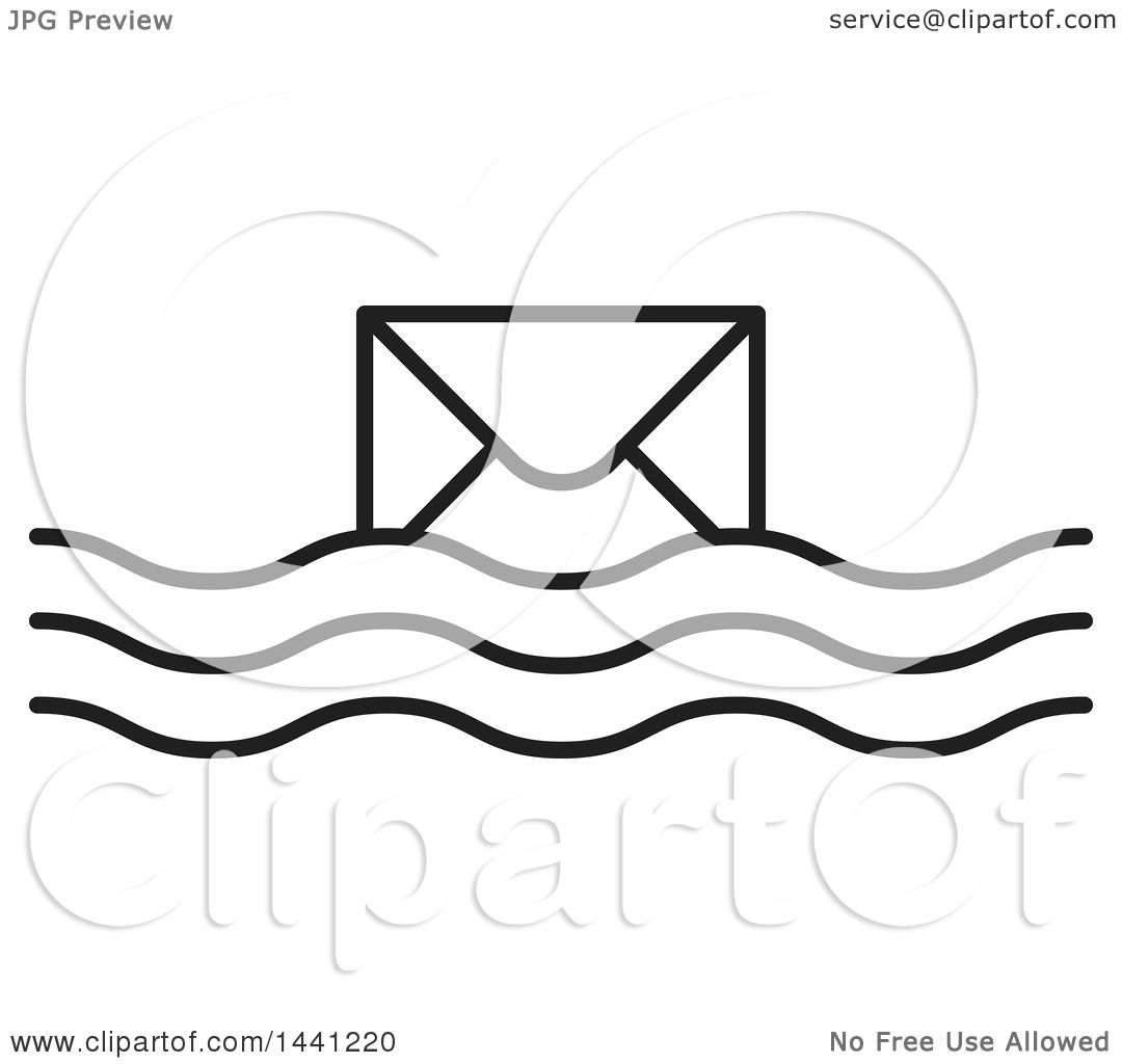Clipart of a Black and White Floating Envelope Icon ...