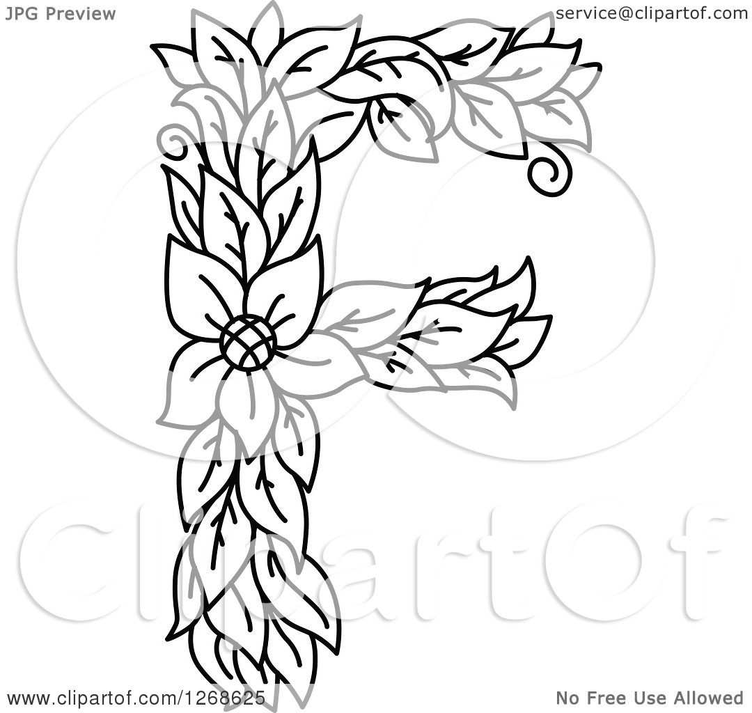 clipart of a black and white floral capital letter f with a flower