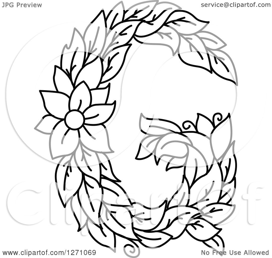 Clipart of a Black and White Floral Capital Letter G with ... | 1080 x 1024 jpeg 124kB