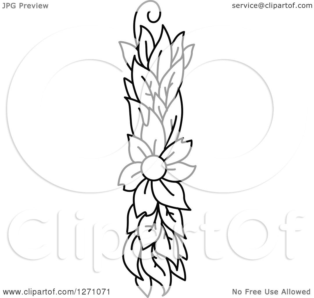 Clipart Of A Black And White Floral Capital Letter I With