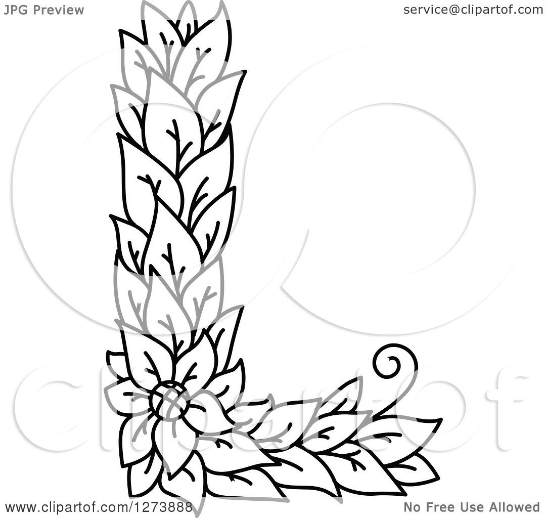 Clipart of a black and white floral capital letter l with a flower clipart of a black and white floral capital letter l with a flower royalty free vector illustration by vector tradition sm mightylinksfo Gallery