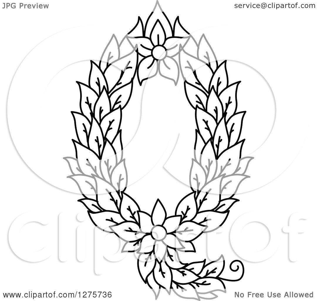 Clipart Of A Black And White Floral Capital Letter Q With A Flower