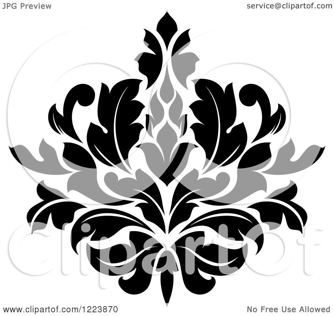 Clipart Of A Black And White Floral Damask Design 19