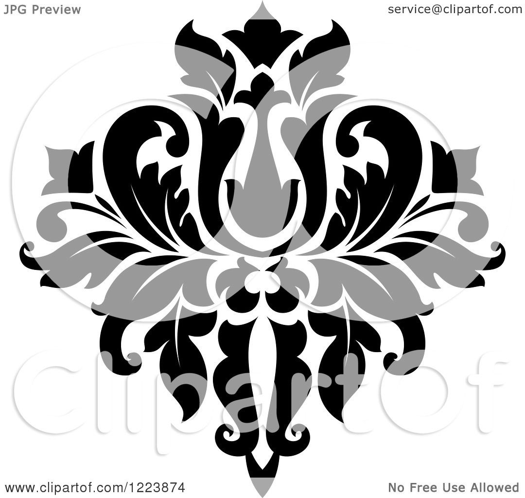 Clipart Of A Black And White Floral Damask Design 21 Royalty Free