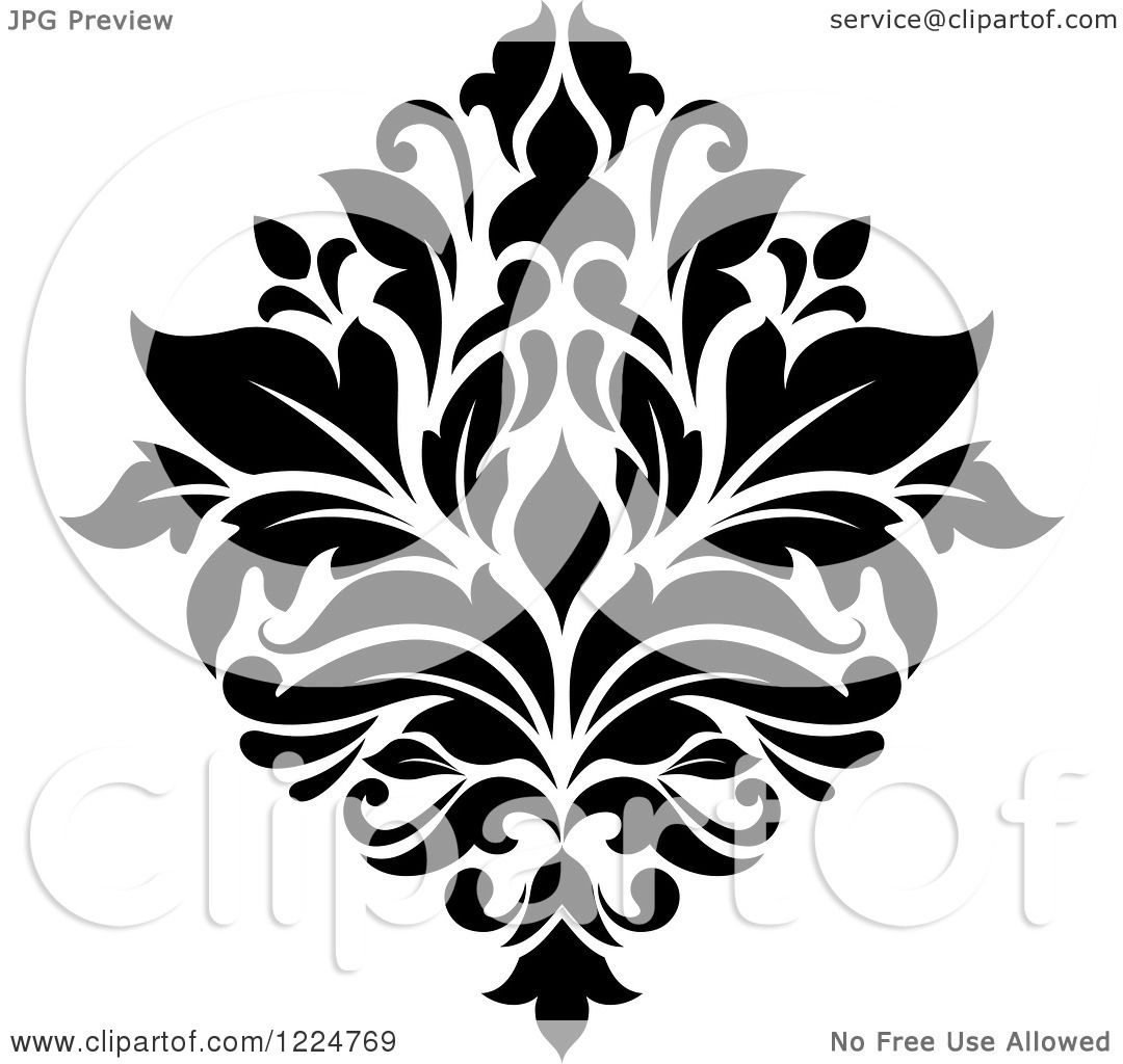 Clipart Of A Black And White Floral Damask Design 32 Royalty Free