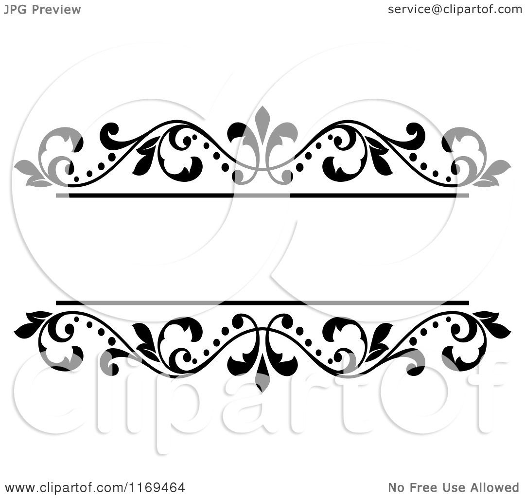 Royalty Free Clipart Illustration Of A Black And White Floral Frame 3