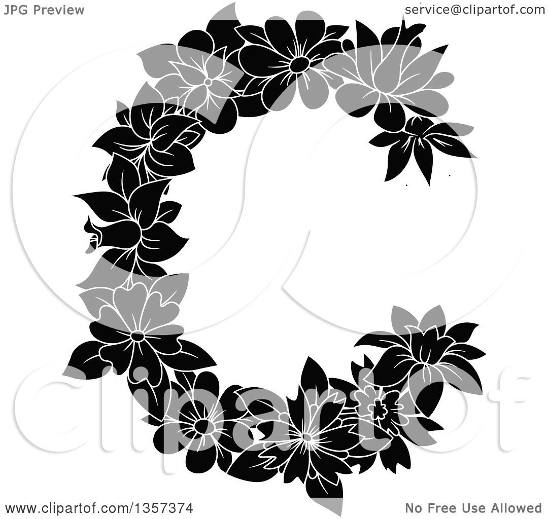 Clipart Of A Black And White Floral Letter C Design