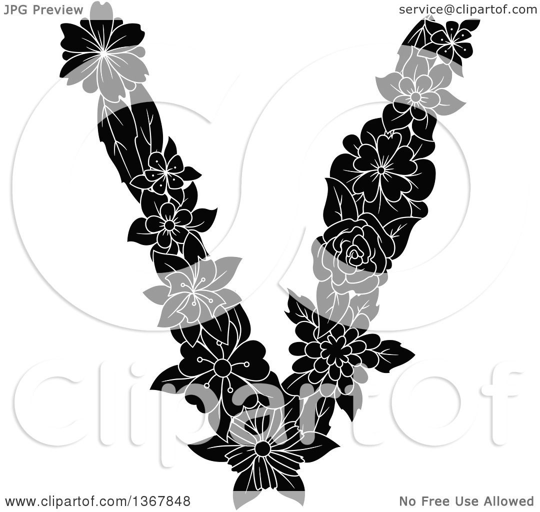 Clipart Of A Black And White Floral Lowercase Alphabet Letter V