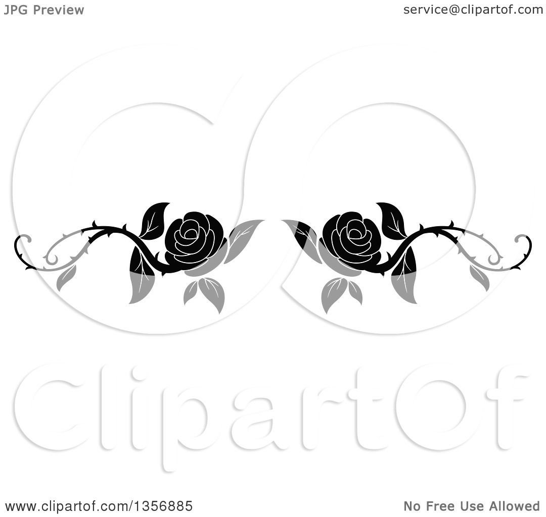 Clipart Of A Black And White Floral Rose Vine Border