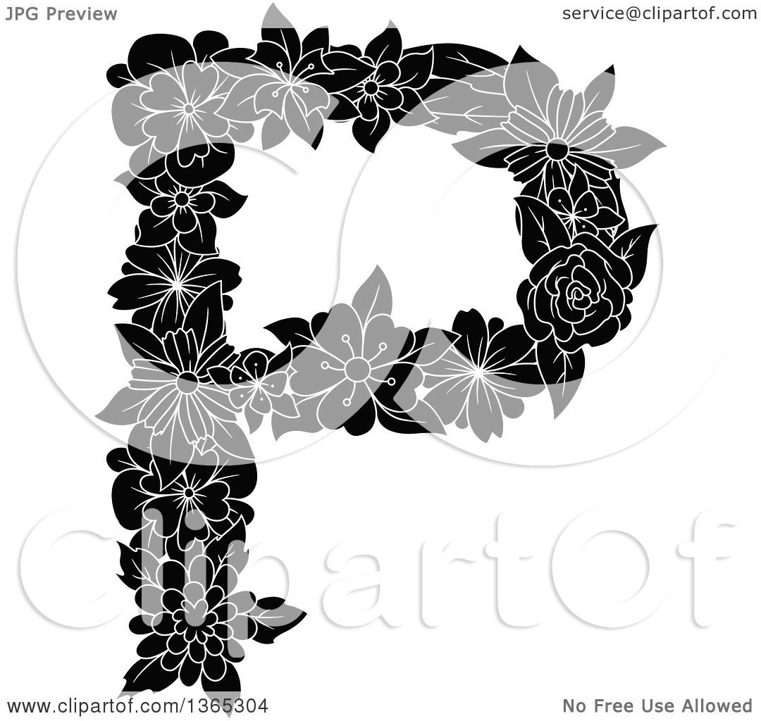 Clipart Of A Black And White Floral Uppercase Alphabet Letter P
