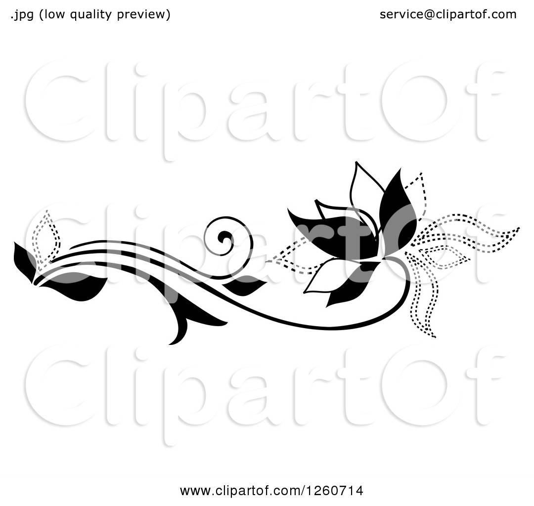 Clipart Of A Black And White Flower Design Element Royalty Free