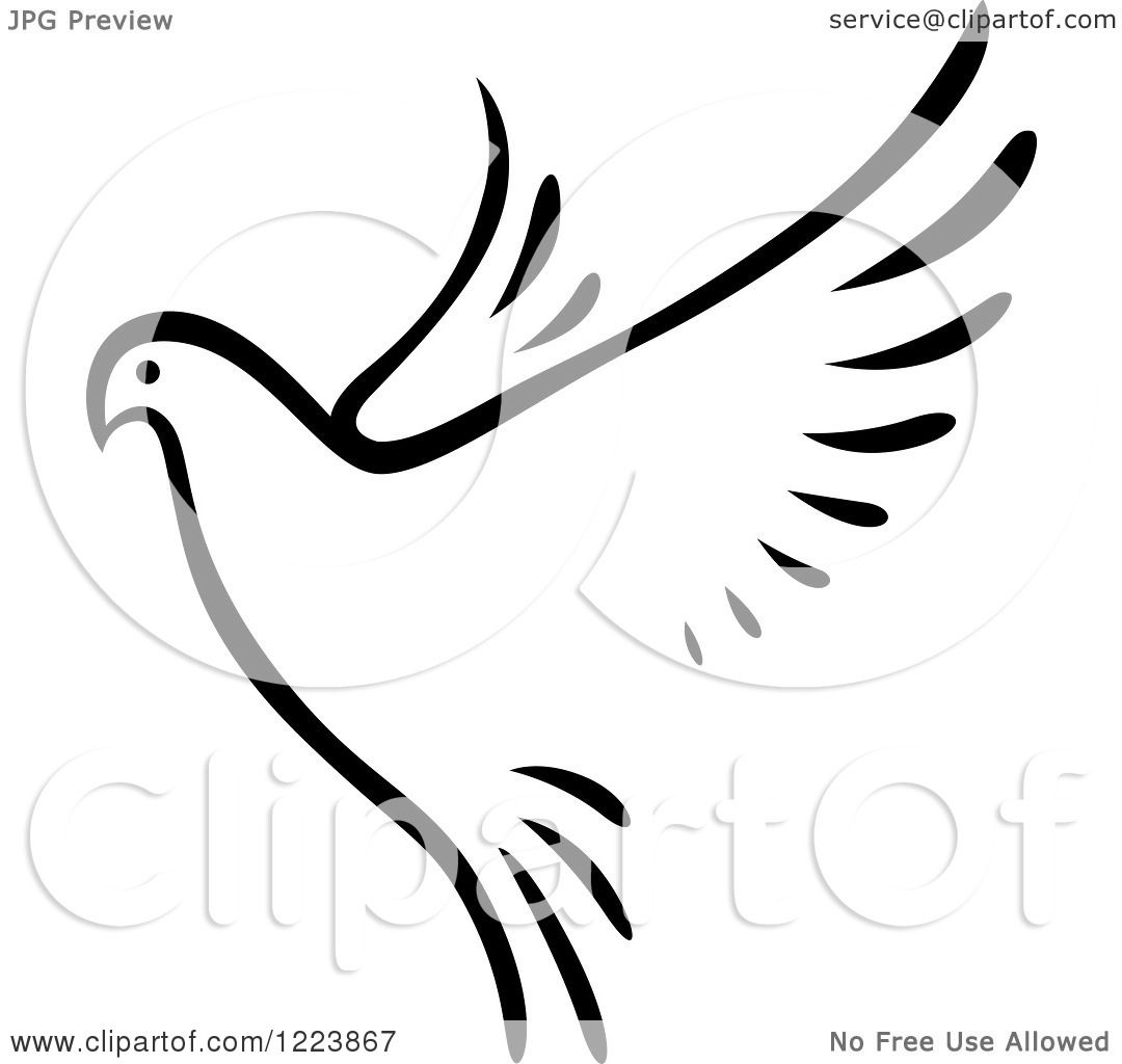 Clipart Of A Black And White Flying Dove