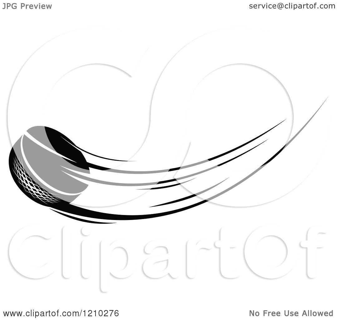 Clipart of a Black and White Flying Hockey Puck 2 - Royalty Free ...