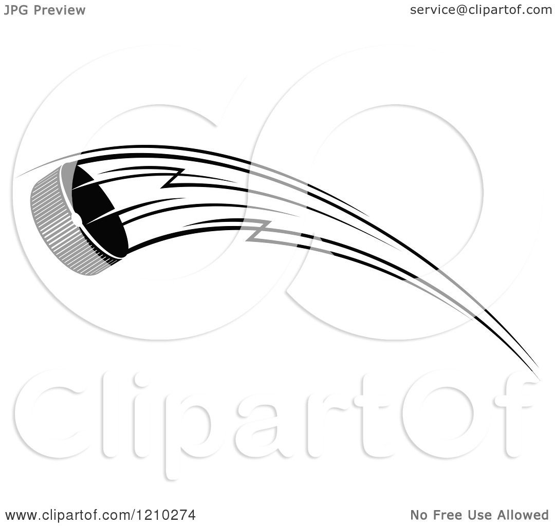 Clipart of a Black and White Flying Hockey Puck 6 - Royalty Free ...