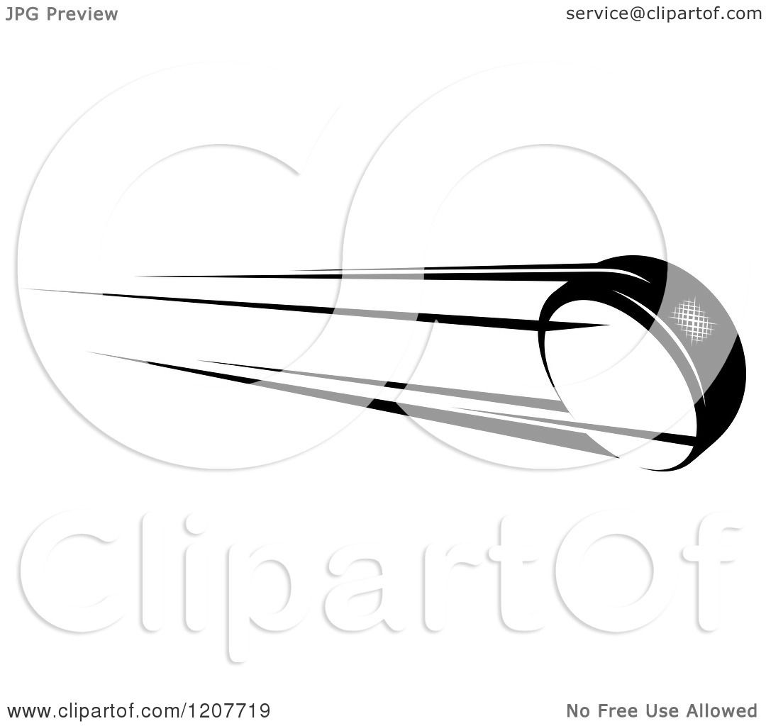 Clipart Of A Black And White Flying Hockey Puck Royalty
