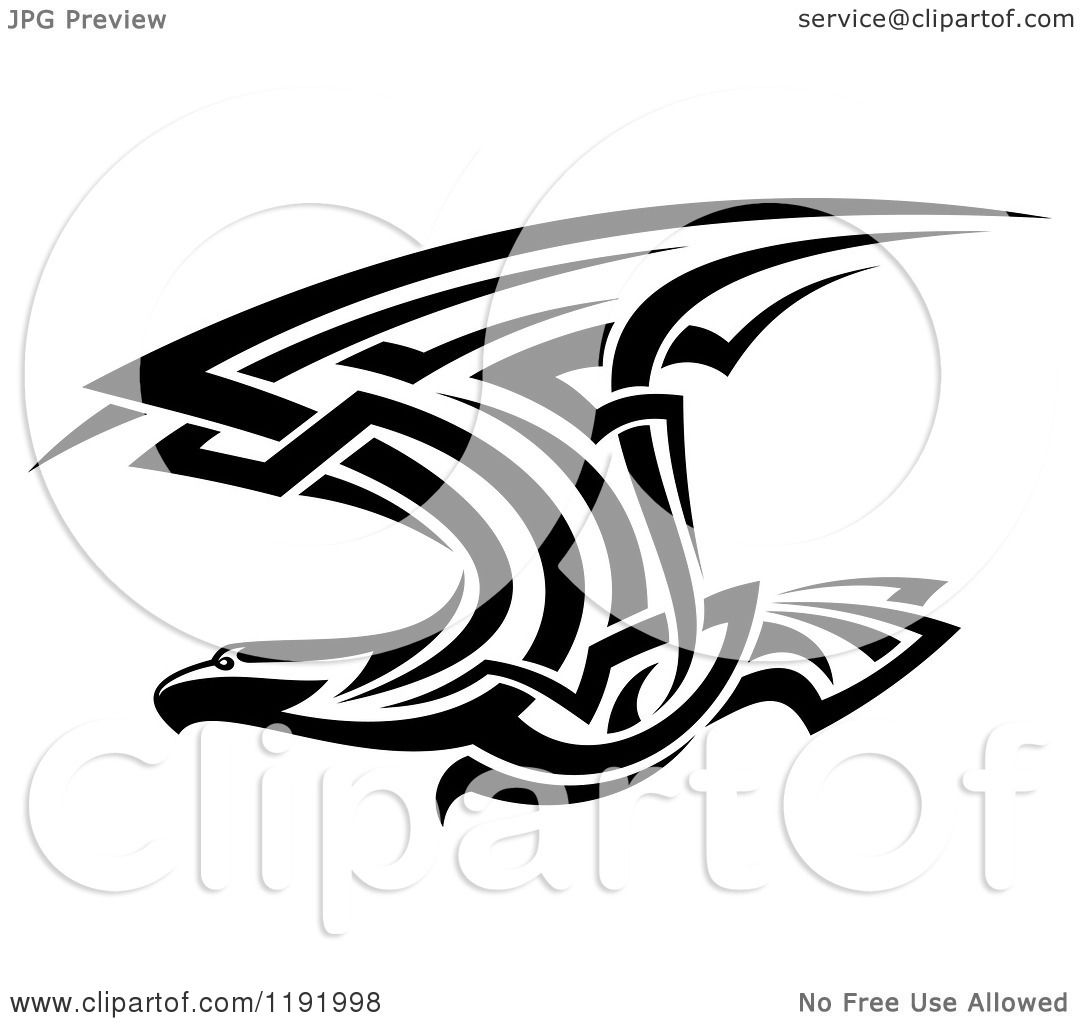 Clipart of a Black and White Flying Tribal Eagle Falcon or ...