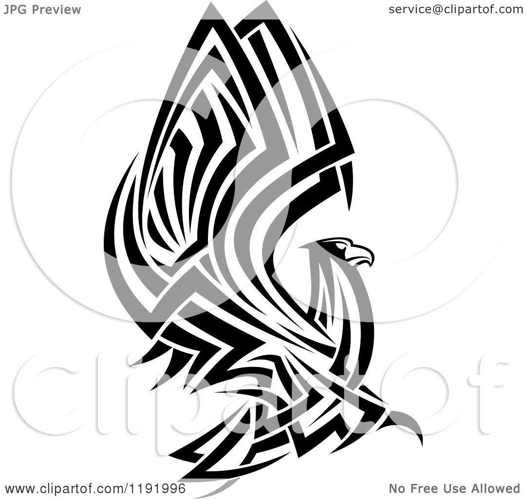 3b07a2b4b Clipart of a Black and White Flying Tribal Eagle Falcon or Hawk - Royalty  Free Vector