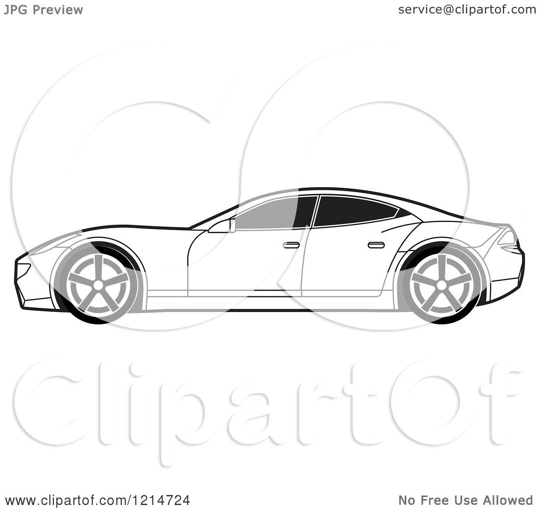 clipart of a black and white four door sports car