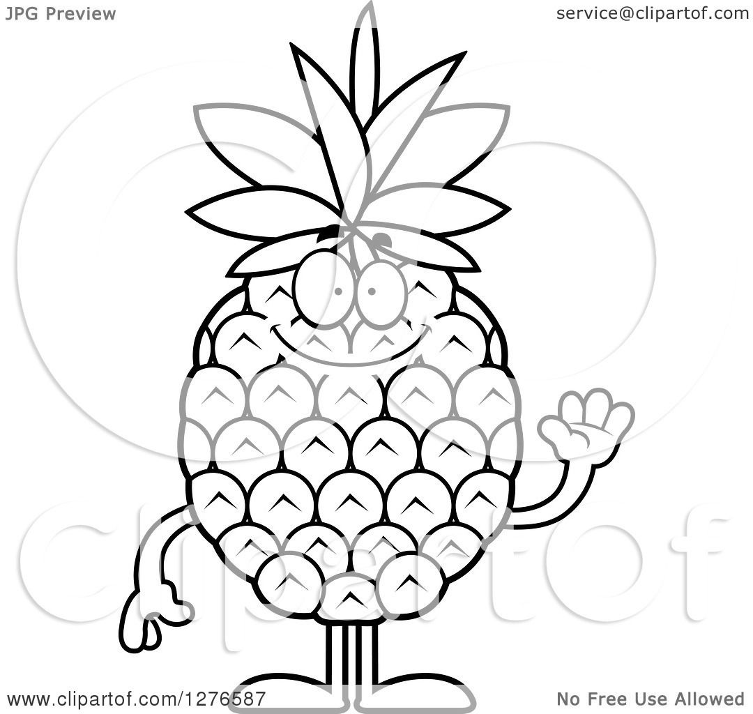 Clipart of a Black and White Friendly Waving Pineapple Character ... for Clipart Pineapple Black And White  181pct