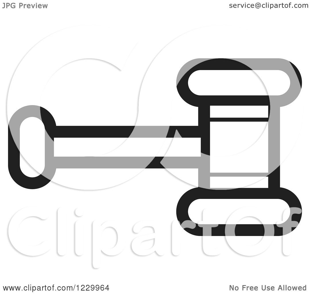 Vector Illustration Hammer: Clipart Of A Black And White Gavel Or Hammer Icon