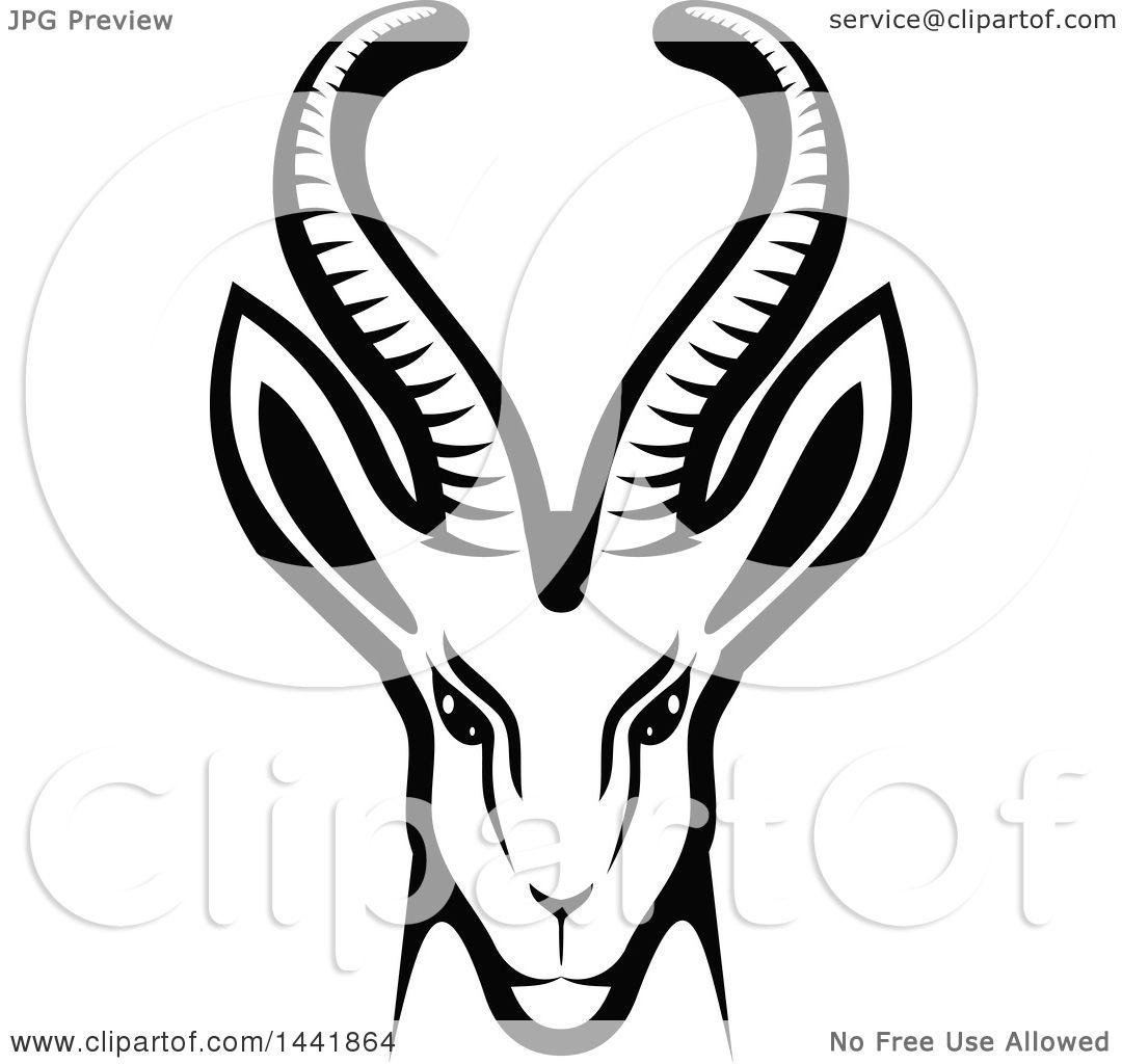 clipart of a black and white gazelle or saiga antelope head rh clipartof com