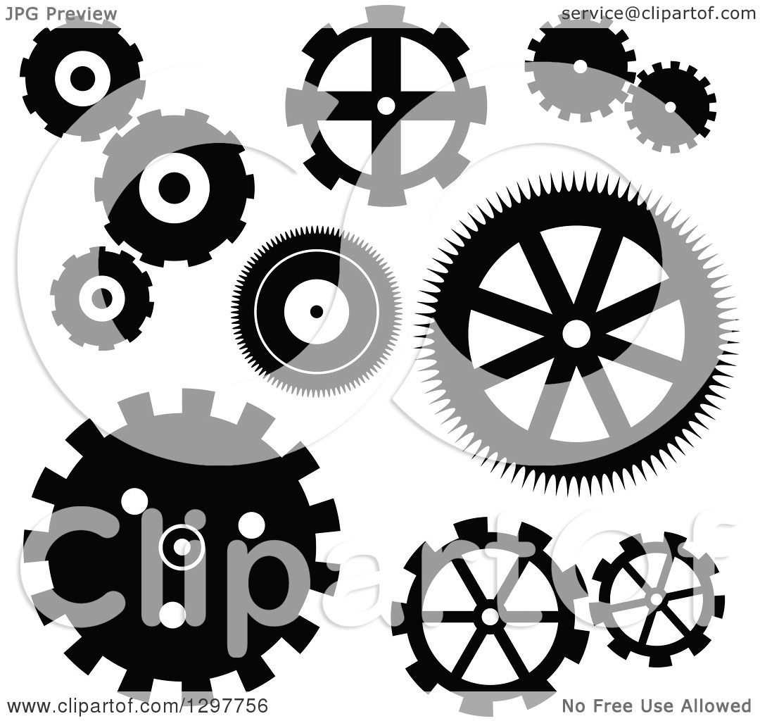 Clipart of a Black and White Gear Cog Icons - Royalty Free