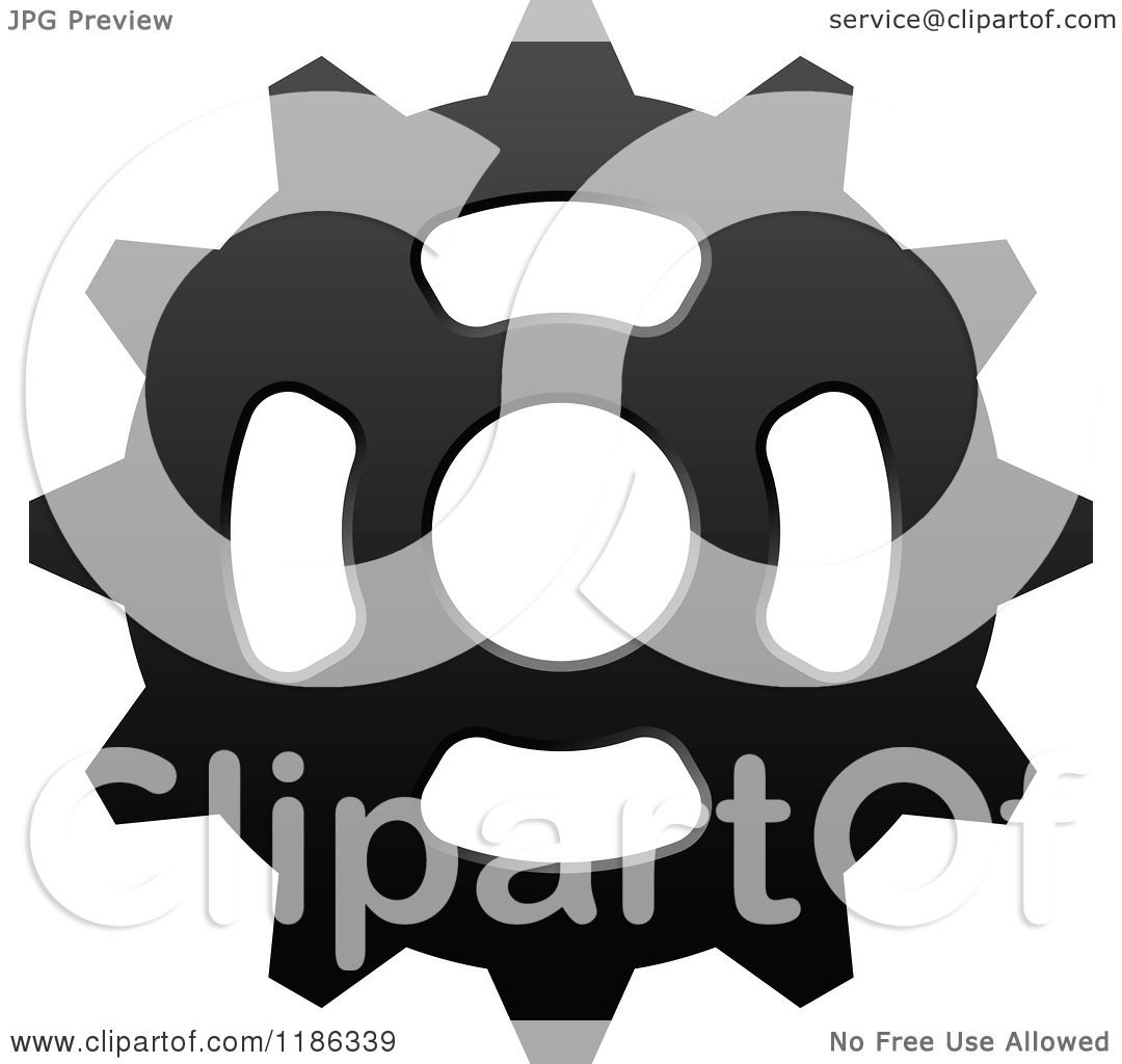 Clipart Of A Black And White Gear Cog Wheel 4 Royalty