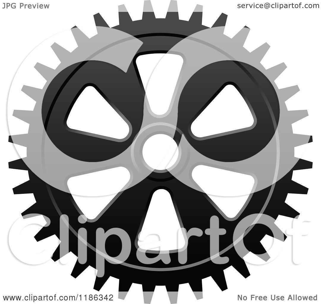 Clipart Of A Black And White Gear Cog Wheel 7 Royalty