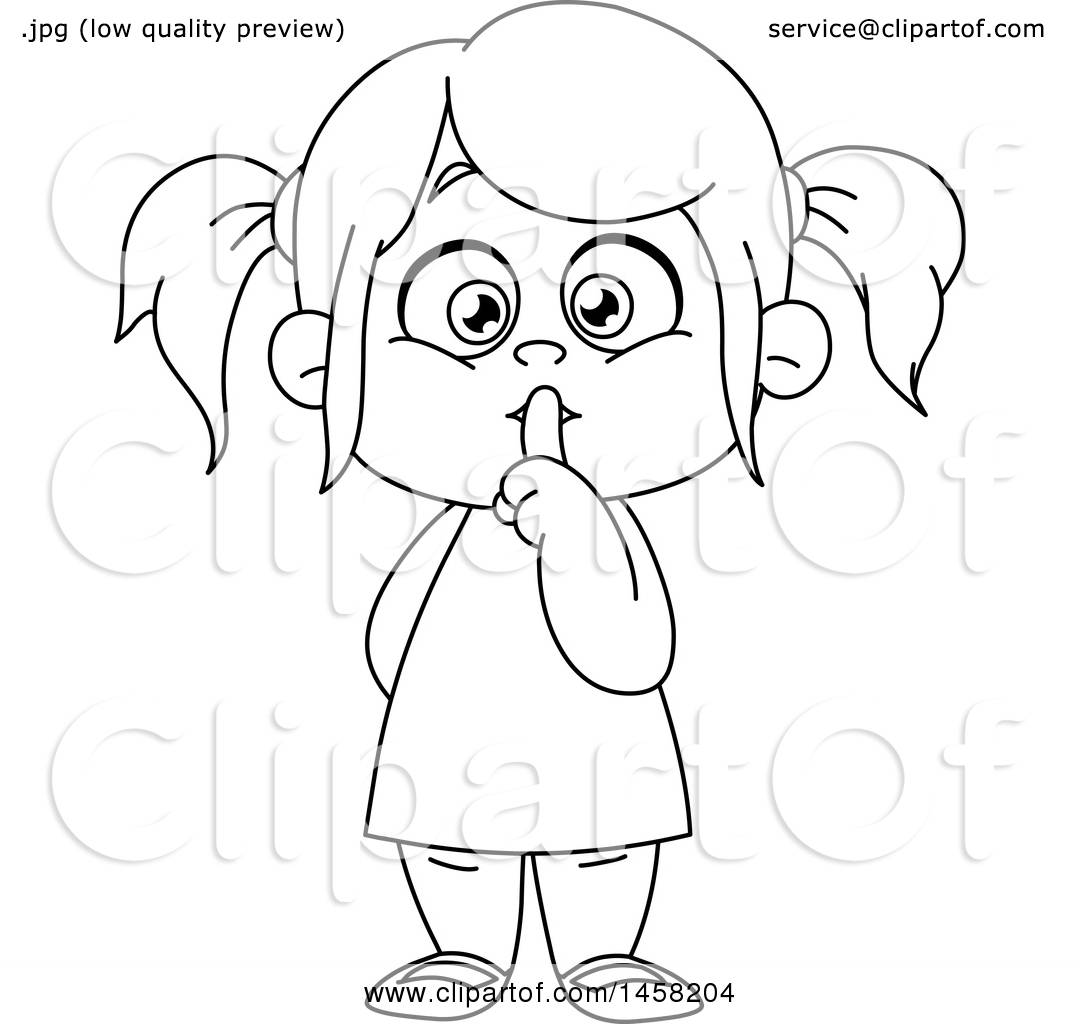Clipart Of A Black And White Girl Gesturing To Be Quiet -8848