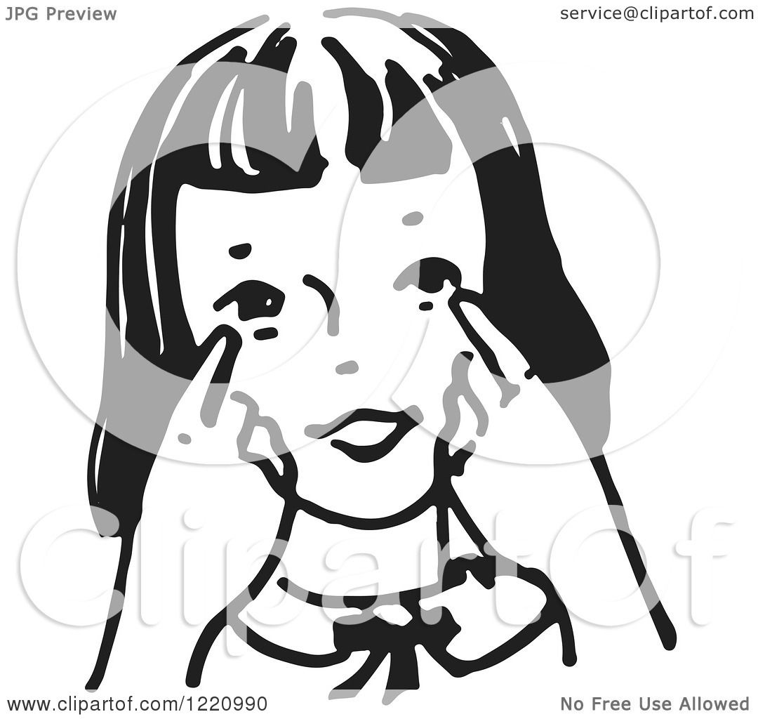 Clipart of a Black and White Girl Pointing to Her Eyes ...