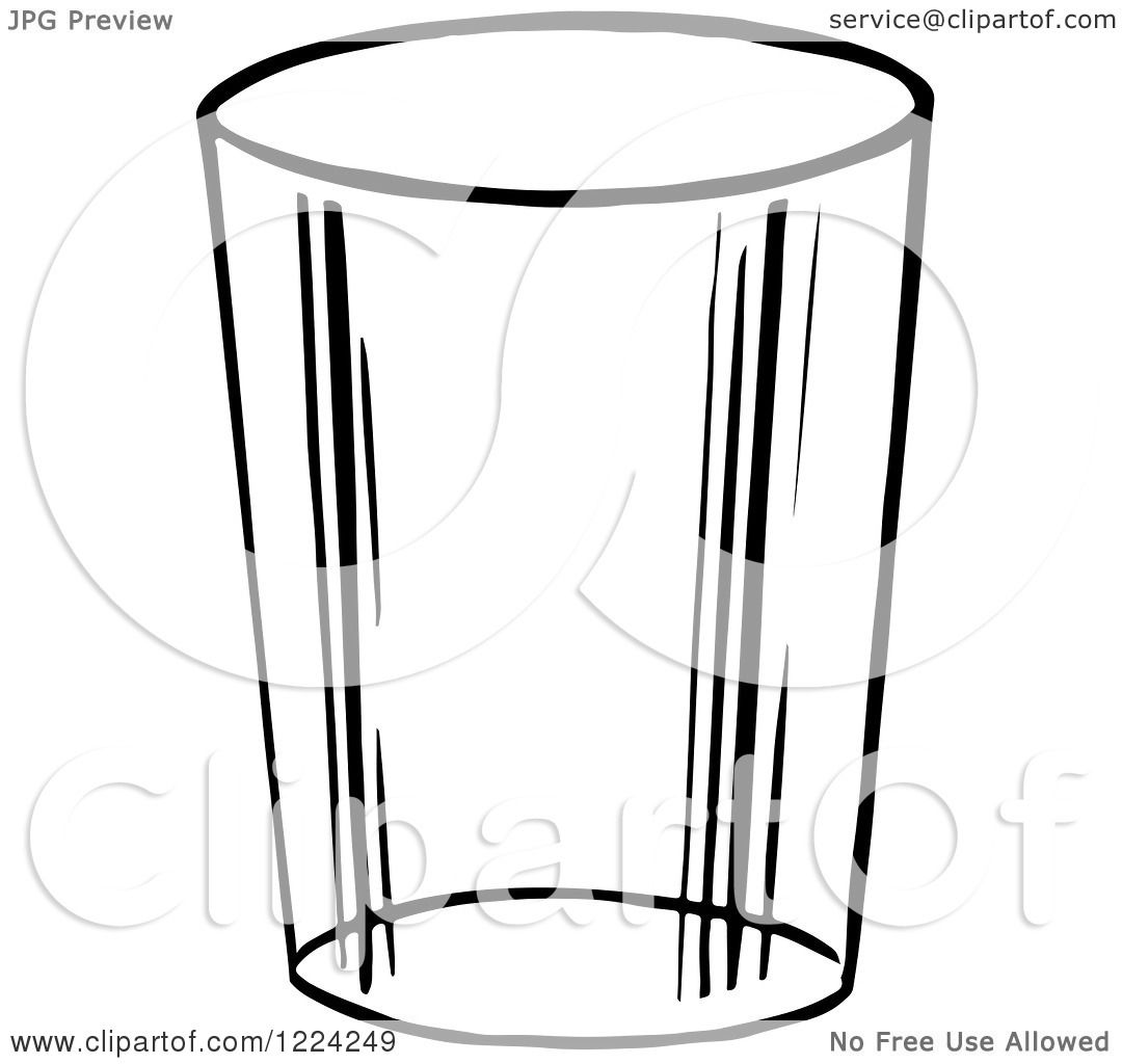 Glass Cup Coloring Page Black and White Glass Cup
