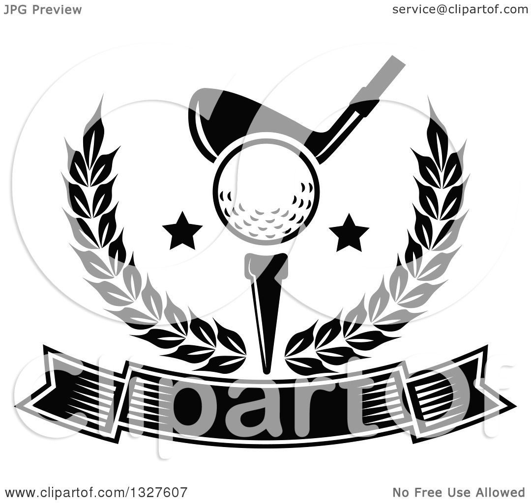 Clipart Of A Black And White Golf Club Against A Ball On A Tee With Stars