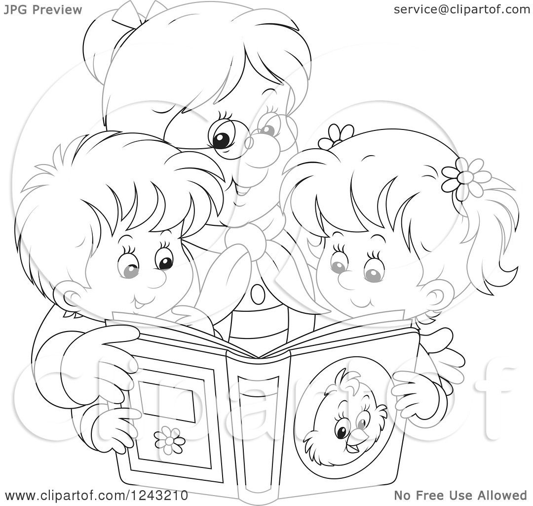 clipart of a black and white granny reading a story book