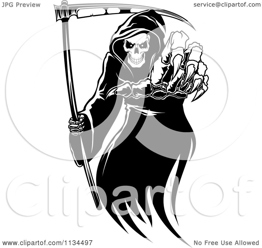 Clipart Of A Black And White Grim Reaper Reaching Outwards ...