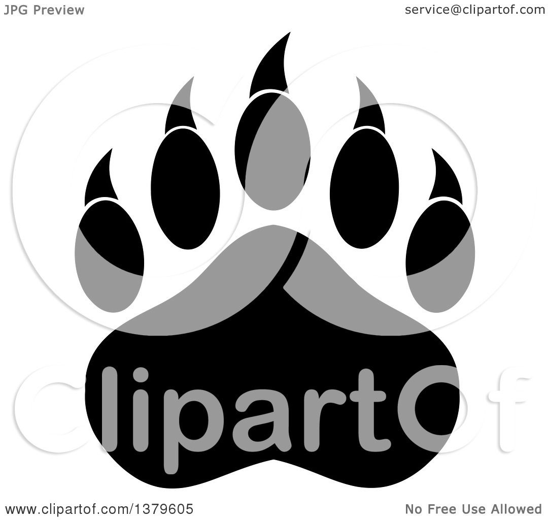 Clipart of a Black and White Grizzly