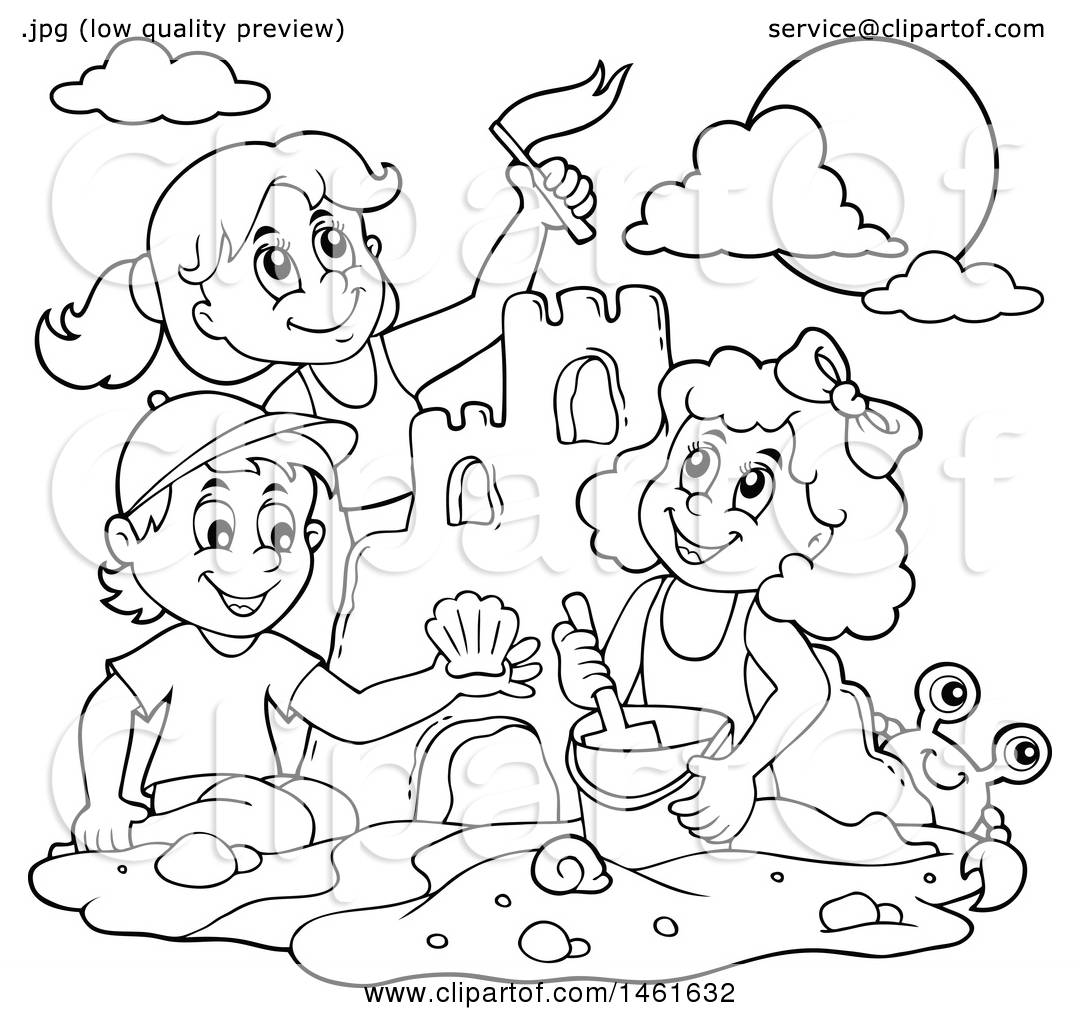 Clipart of a Black and White Group of Kids Building a Sand ...