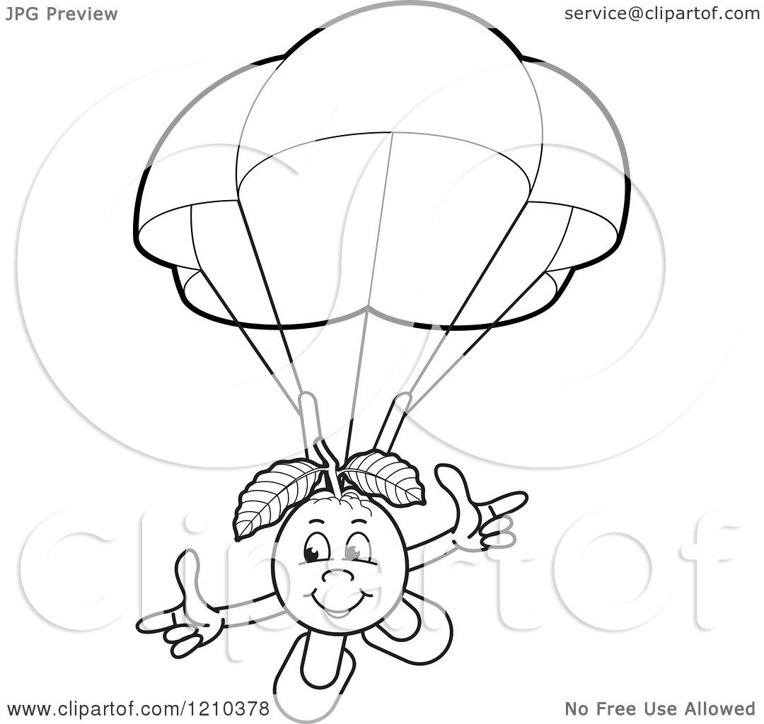Clipart Of A Black And White Guava Mascot Parachuting