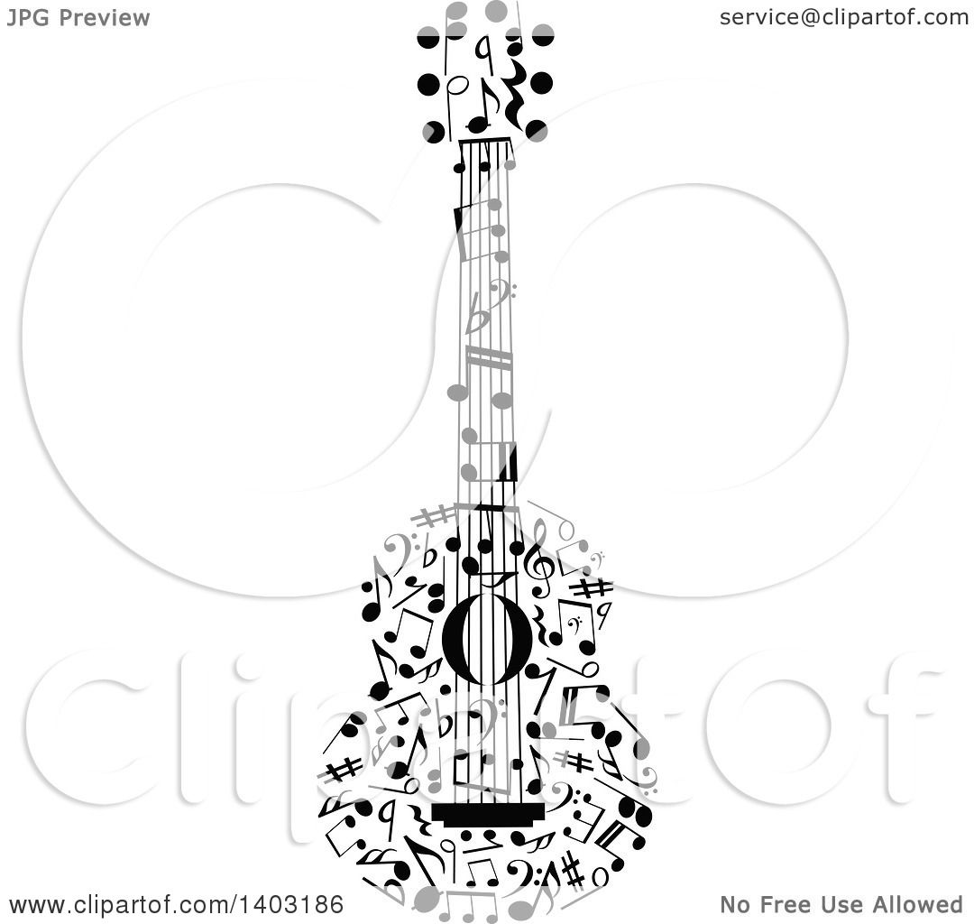 Clipart of a Black and White Guitar Made of Music Notes ...