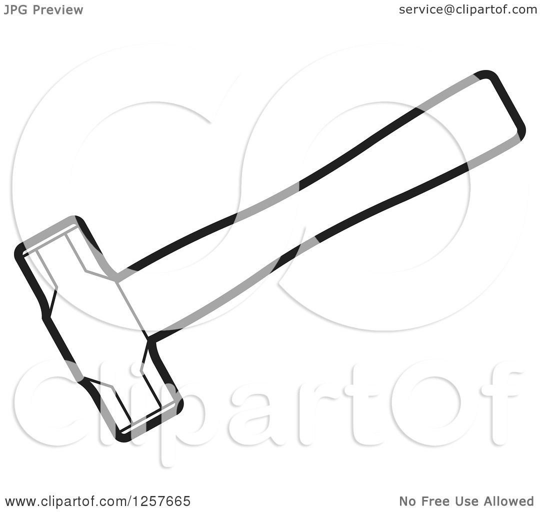 Vector Illustration Hammer: Clipart Of A Black And White Hammer